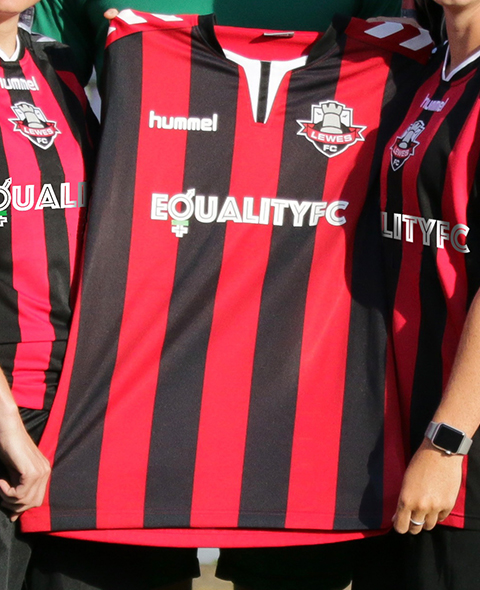 Lewes fc footbal shirt showing equality fc logo